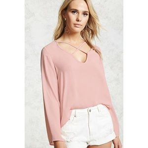 Forever 21 pink cross top